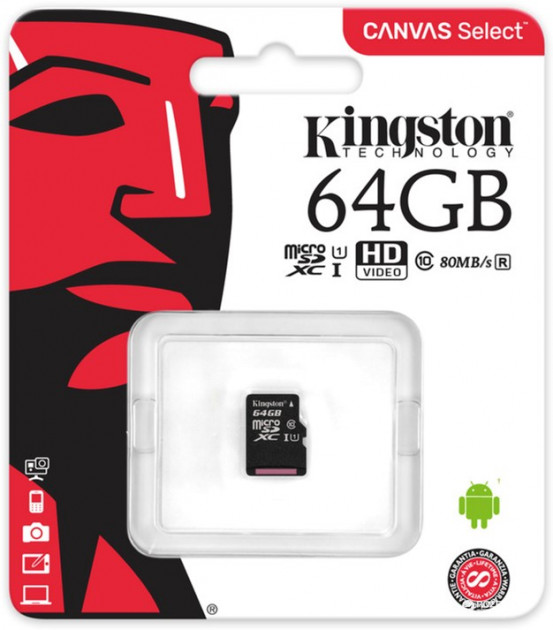 Kingston microSDXC 64GB Canvas Select Class 10 UHS-I U1